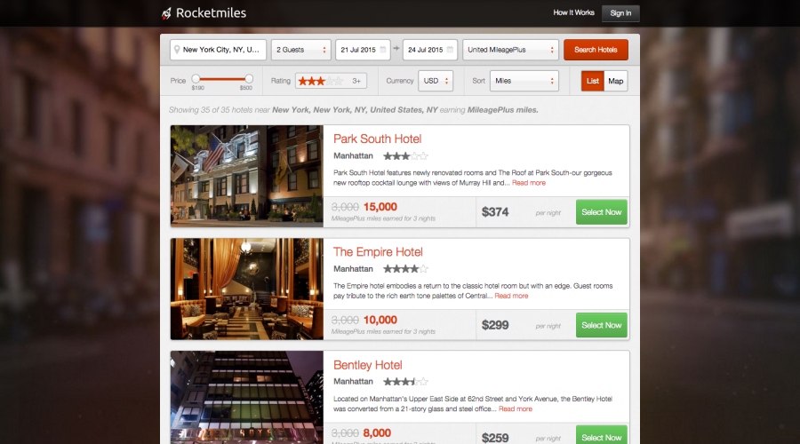 rocketmiles hotel list